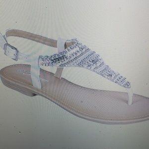 Forever Beaded White Sandals Flats New